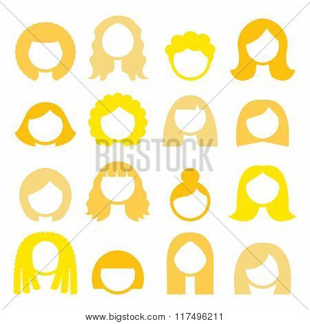 Blond hair styles, wigs icons set - women