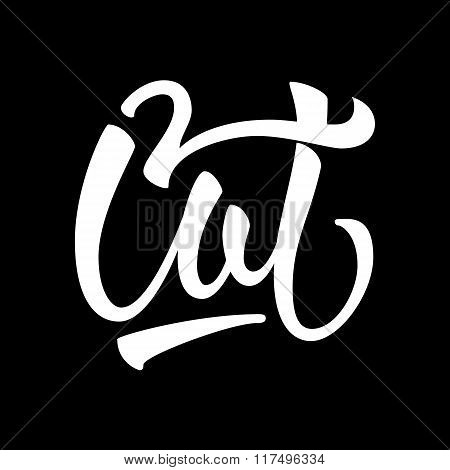 Cat calligraphy lettering logo