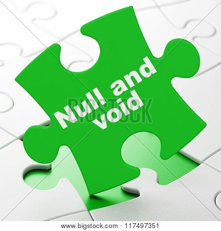 Law concept: Null And Void on puzzle background