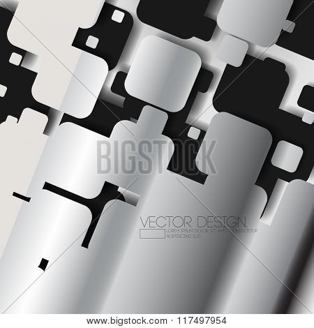 overlapping silhouette rounded corner squares metallic effect