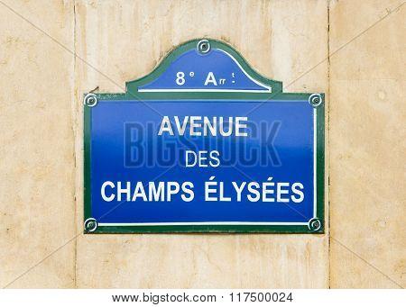 Avenue des Champs Elysees street sign in Paris, France
