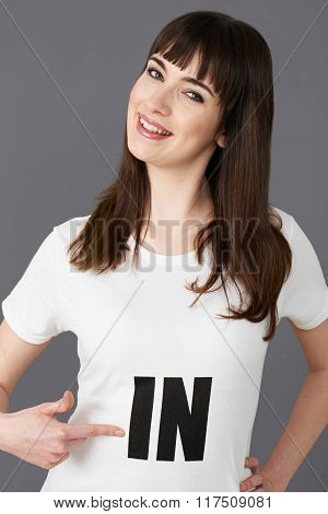 Young Woman Supporter Wearing T Shirt Printed With In