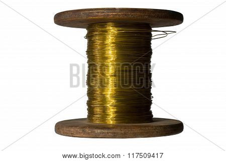 Creative abstract electricity and technology engineering industrial business concept: wood spool wit