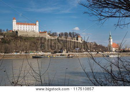 Bratislava Castle And St. Martin's Cathedral In Bratislava, Slovakia.