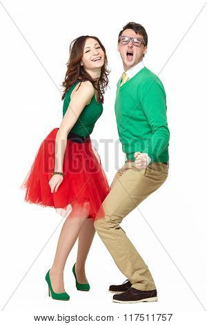 Dancing couple wearing bright clothes