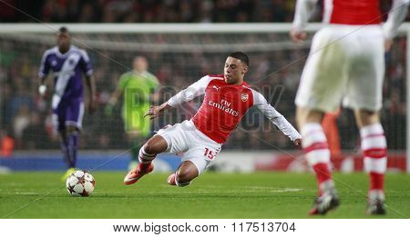 LONDON, ENGLAND - NOV 04 2014: Arsenal's Alex Oxlade-Chamberlain during the UEFA Champions League match between Arsenal from England and Anderlecht from Belgium played at The Emirates Stadium.