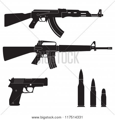 Weapons set. Machine guns, pistol and bullets icons isolated on white background. Vector.