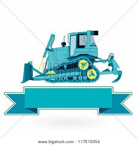 Blue big digger builds roads on white.