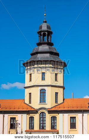 High Tower Of The Palace In Nesvizh On A Sunny Day