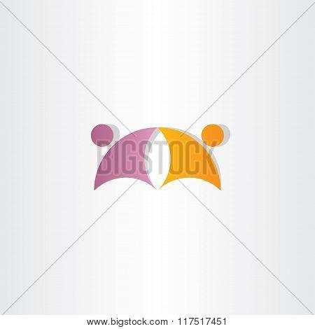 Purple Orange Business People Partners Icon Logo