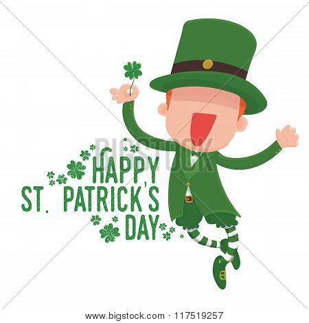 Leprechaun Holding a Four-Leaf Clover for St. Patrick's Day Card.