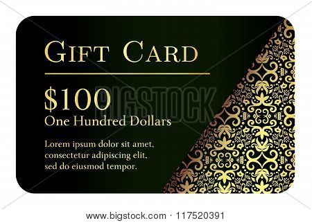 Vintage Black Gift Card With Golden Lace Ornament In Right Corner