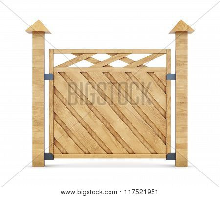 Section of wooden fence on a white background. 3d rendering