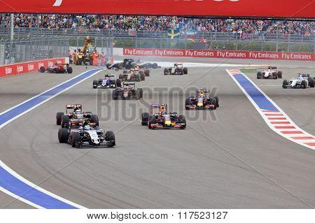 Nico Hulkenberg Sahara Force India and Marcus Ericsson Sauber crash at the start of the race.