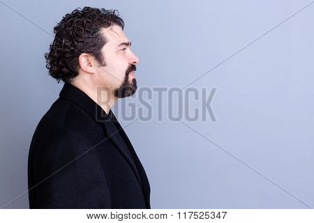 Calm Man Profile Over Gray Background