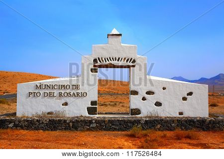 Puerto del Rosario welcome monument sign Fuerteventura at Canary Islands of Spain