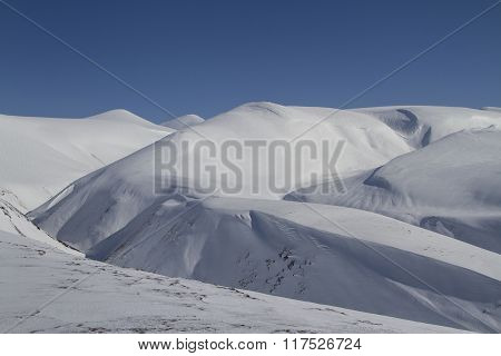 Winter Landscape Of The Central Part Of Bering Island On A Sunny