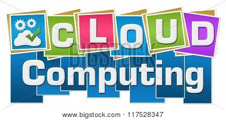 Cloud Computing Colorful Squares Text Bottom
