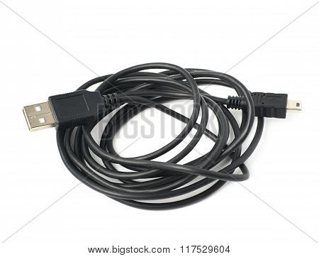 Folded USB adapter cable isolated