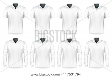 Collection of polo shirts with different polo-collars. Vector illustration. Fully editable handmade mesh.
