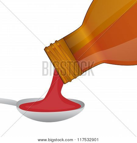 Medical Syrup Is Poured From A Bottle Into A Spoon
