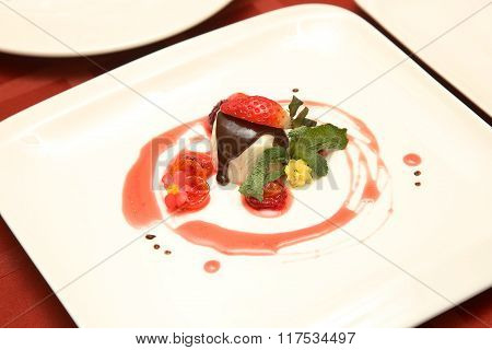 Curd Dessert With Berries On A Plate