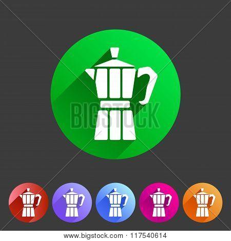 Italian coffee maker moca  icon flat web sign symbol logo label
