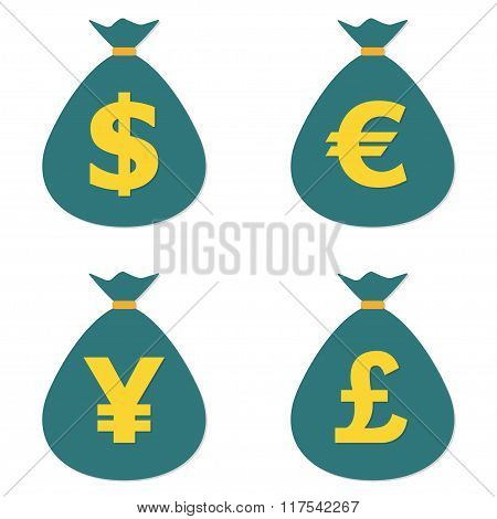 Currency symbols and money bags. Dollar, euro, yen and pound icons. Vector.
