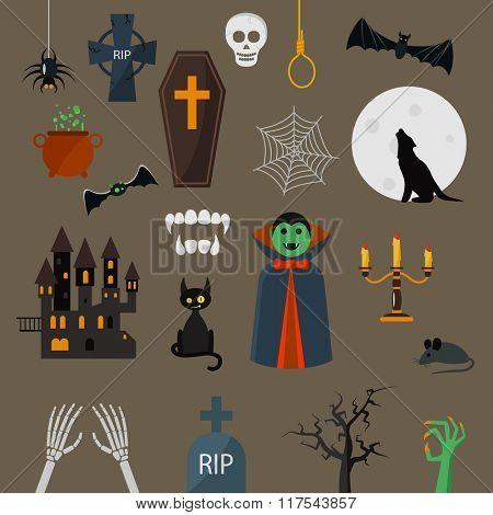 Dracula icons vector set. Dracula vampire character design cartoon elements. Dracula vampire vector illustration. Zombie hand. black cat, castle