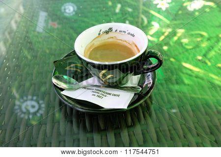 DROBETA-TURNU SEVERIN, ROMANIA - JULY 25, 2015: a black cup of espresso branded