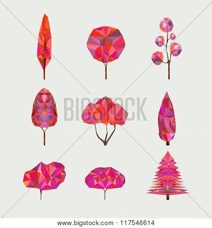 Vector set of geometric autumn trees on light background. Low poly style. Abstract polygonal trees.