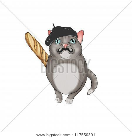 hand drawn illustration of cat dressed as french character