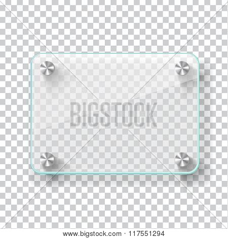 Realistic transparent glass frame on light grey background. Vector eps10 illustration