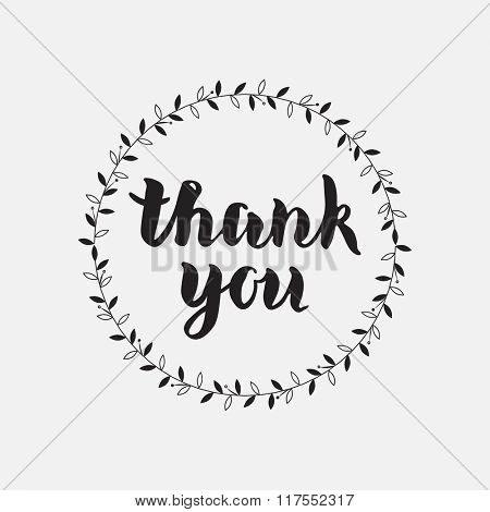 Thank You vector hand written calligraphic lettering on white background with floral ornament. Thanksgiving gratitude greeting card. Handmade concept.