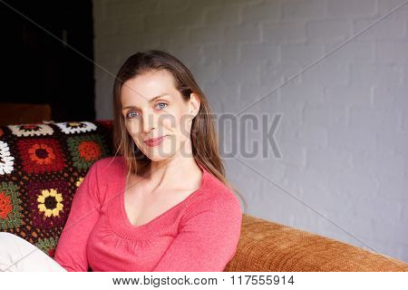 Mid Adult Woman Smiling At Home