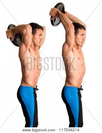 Overhead Tricep Extension. Studio composite over white. poster