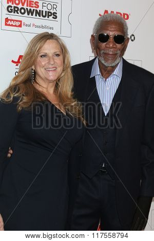 LOS ANGELES - FEB 8:  Lori McCreary, Morgan Freeman at the 15th Annual Movies For Grownups Awards at the Beverly Wilshire Hotel on February 8, 2016 in Beverly Hills, CA