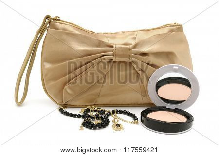 Handbag powder necklace isolated on white background