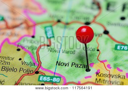 Photo of pinned Novi Pazar on a map of Serbia. May be used as illustration for traveling theme. poster