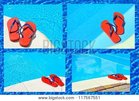 Pair of red flip-flops on the swimming pool. poster