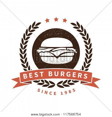 Best burgers. Quality burgers label.