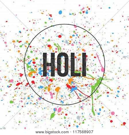 Holi Text and color Splashes on white Background