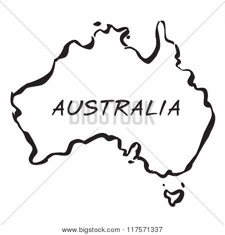 Black Vector Map Of Australia