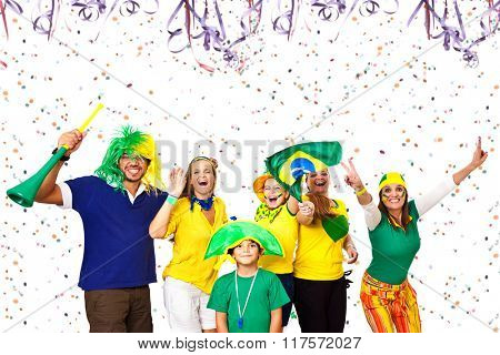 Group of Brazilian friends enjoying Carnival time