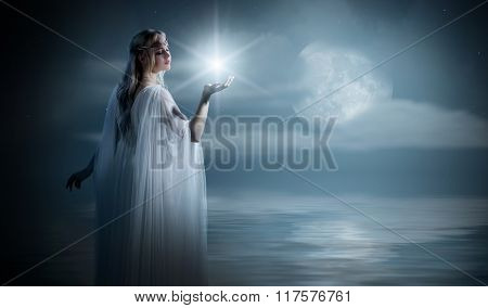 Elven girl with star on sea coast poster