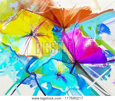 Abstract Oil Painting Colorful Of Spring Flower. Still Life Of Yellow, Pink And Red Gerbera