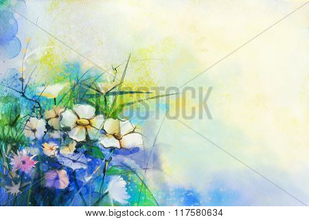 Abstract Flower Watercolor Painting. Hand Paint Meadow Flower background