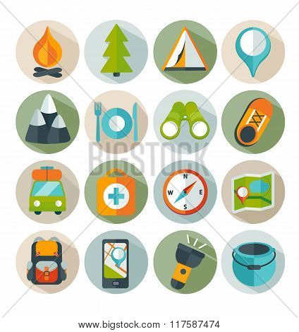 Hiking and outdoor icon set.