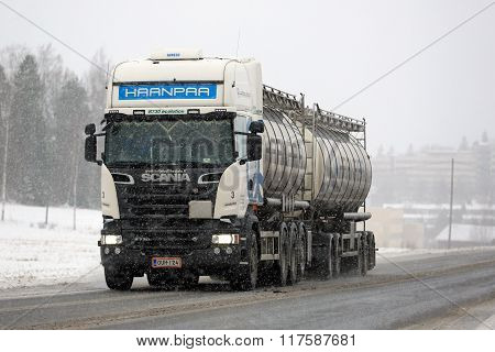 White Scania R730 Tank Truck In Snowfall