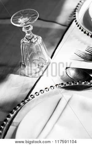 Table Setup In Black And White
